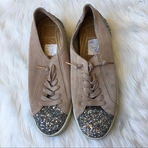 69e51182ae4 Dolce Vita Suede Sparkle Silver Glitter Sneakers